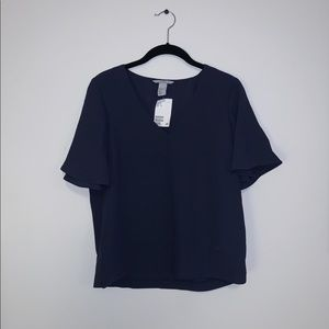 Dark Blue Wide-sleeved Blouse